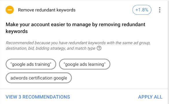Google ads optimization score keyword recommendation