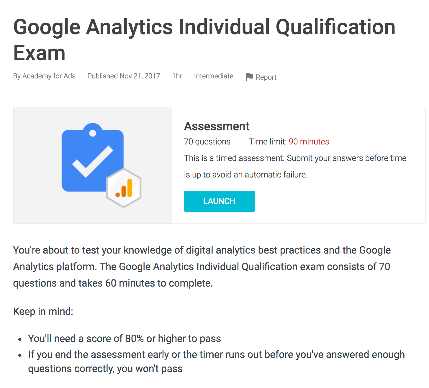 Passing the Google Analytics Exam
