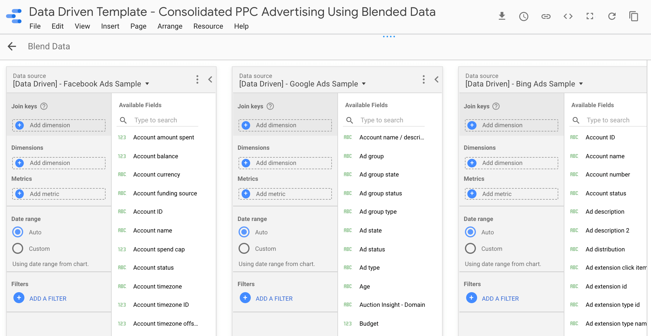 Blending Data in Google Data Studio