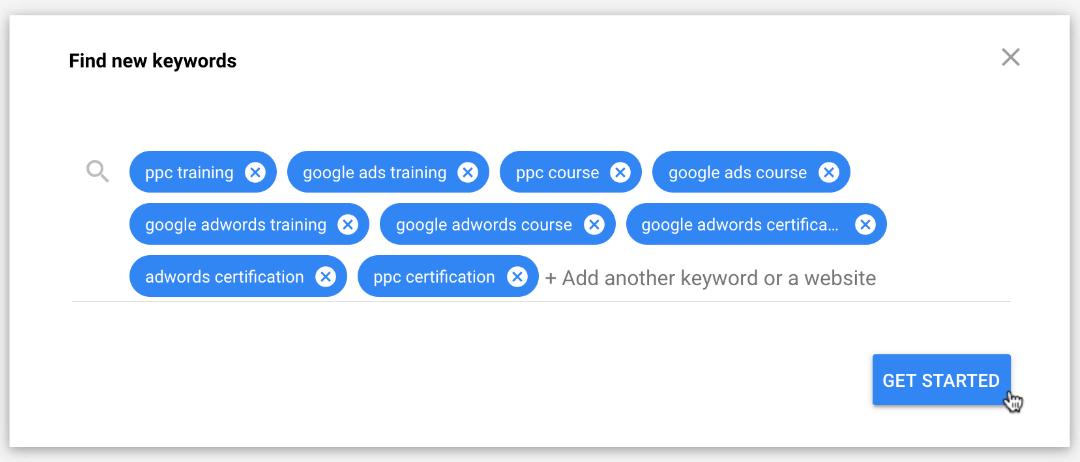 using google keyword planner to build a keyword list
