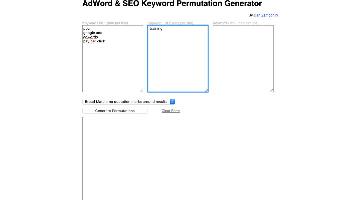 Keyword Permutation