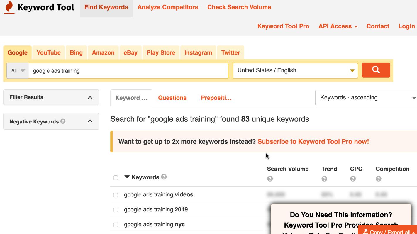 Using Keyword Tool