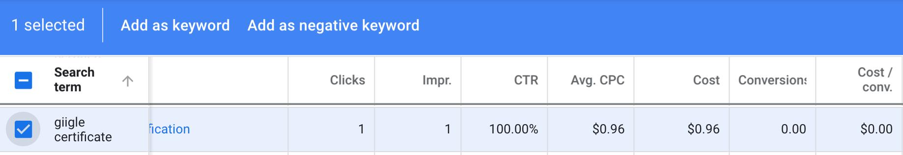 Adding Negative Keywords