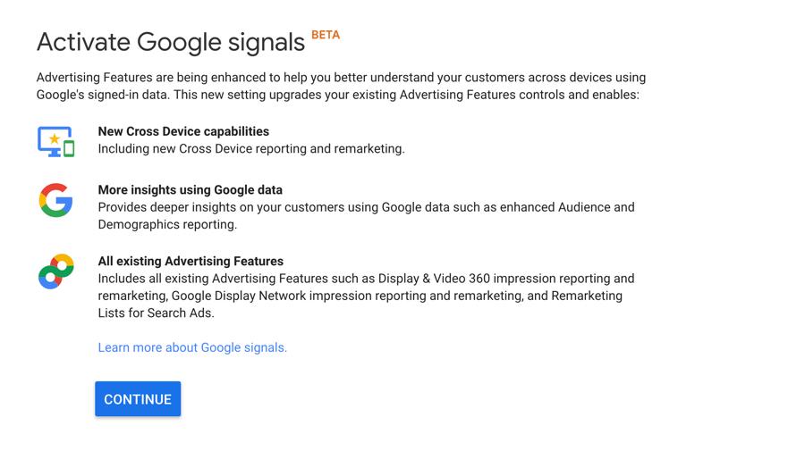 Setting up Google Signals