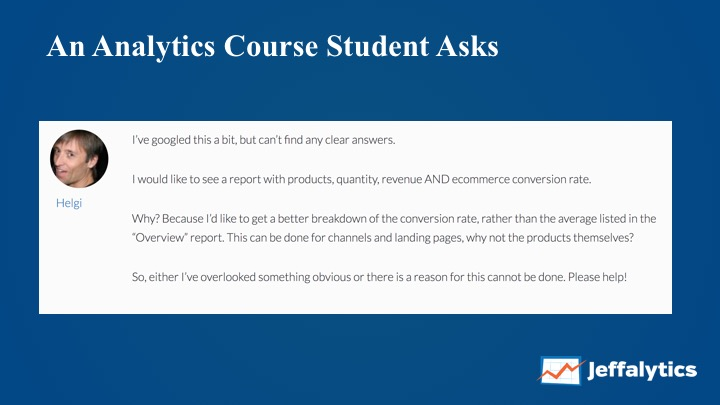 Analytics Course Custom Report Question