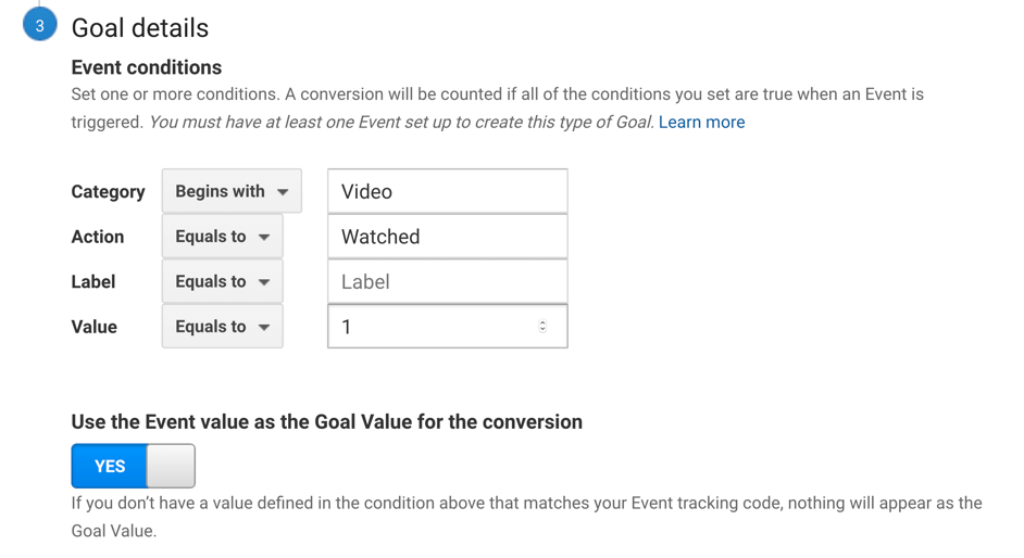 google analytics goal value for events