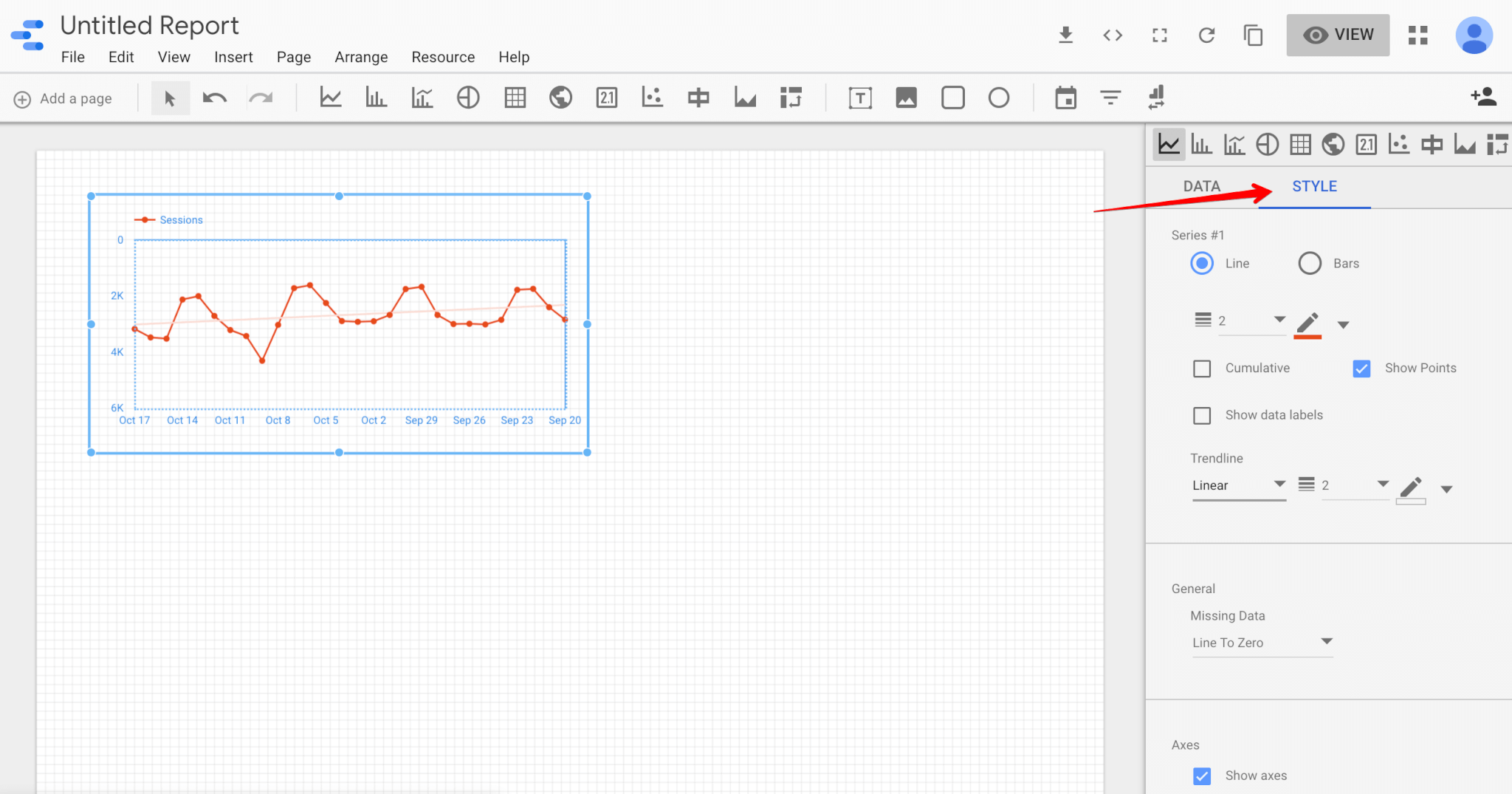 Style menu in Google Data Studio
