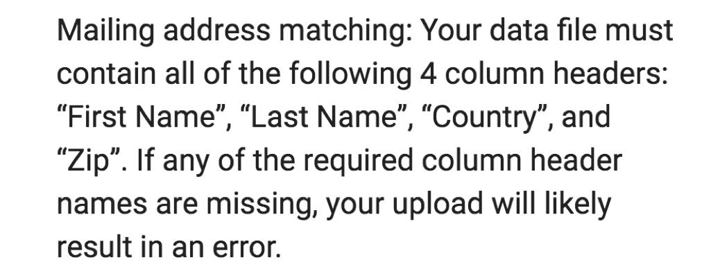 customer match list mailing address instructions