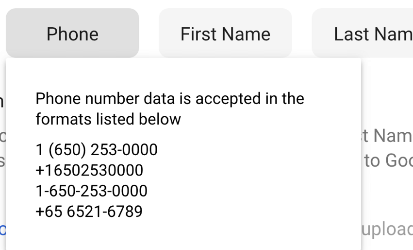 phone numbers in Google Ads Customer Match