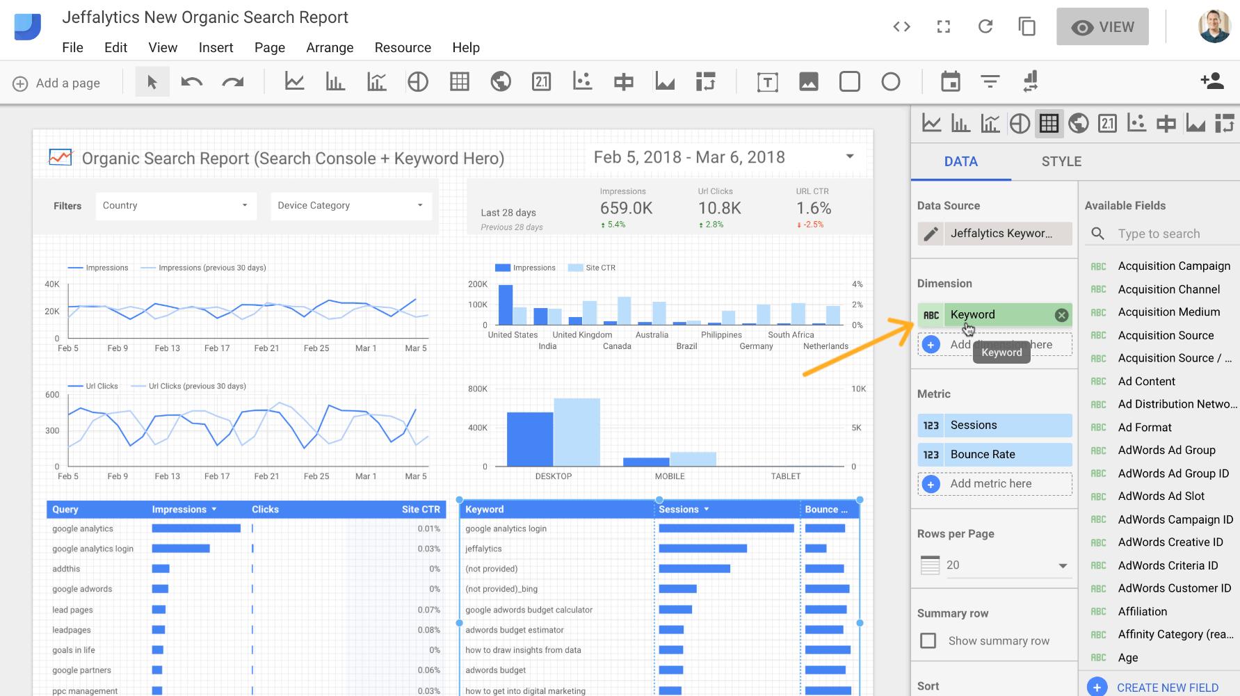 Adjusting metrics and dimension in Google Data Studio