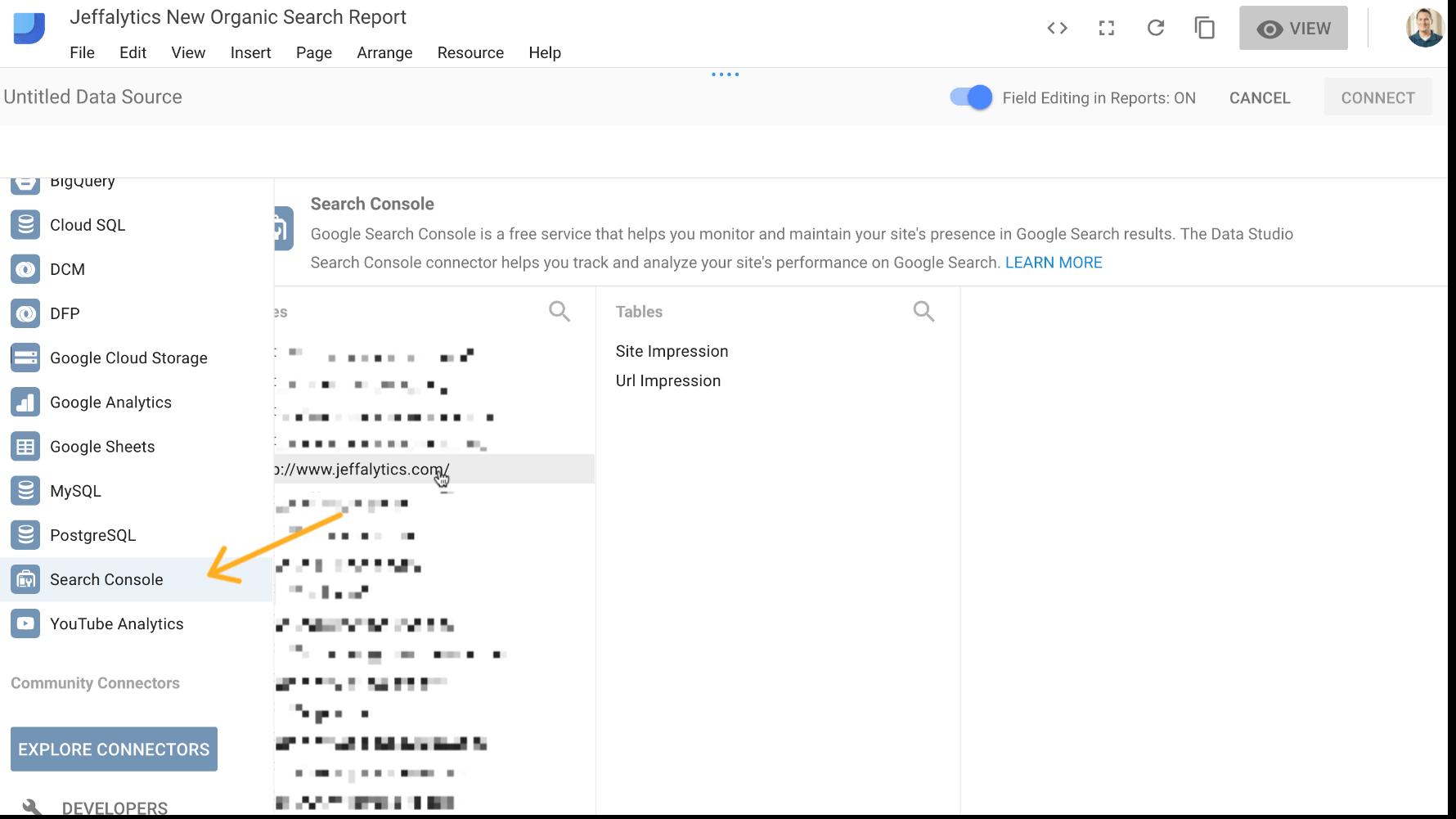 connect Google Search Console to Google data studio