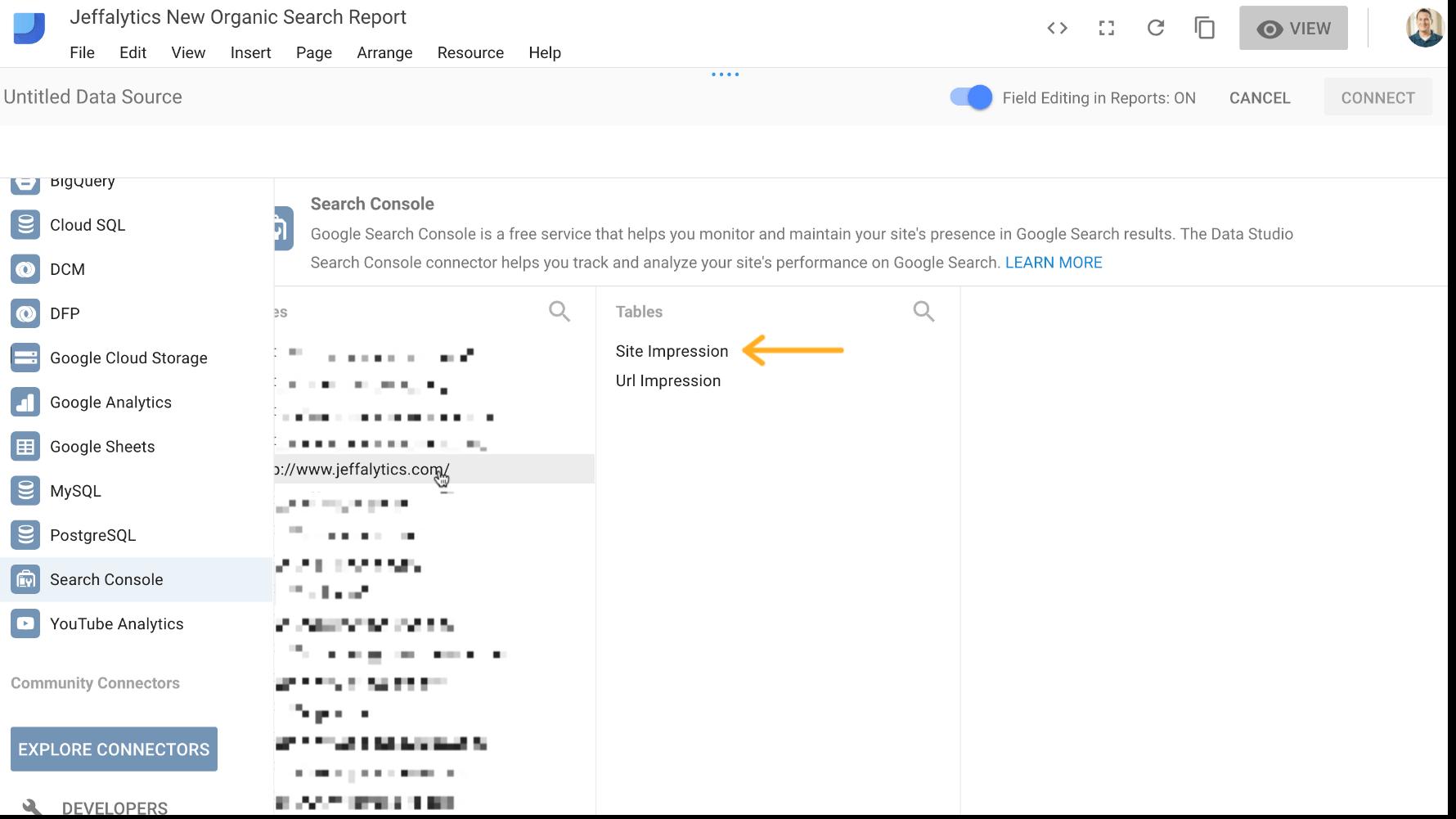 site impression in google search console