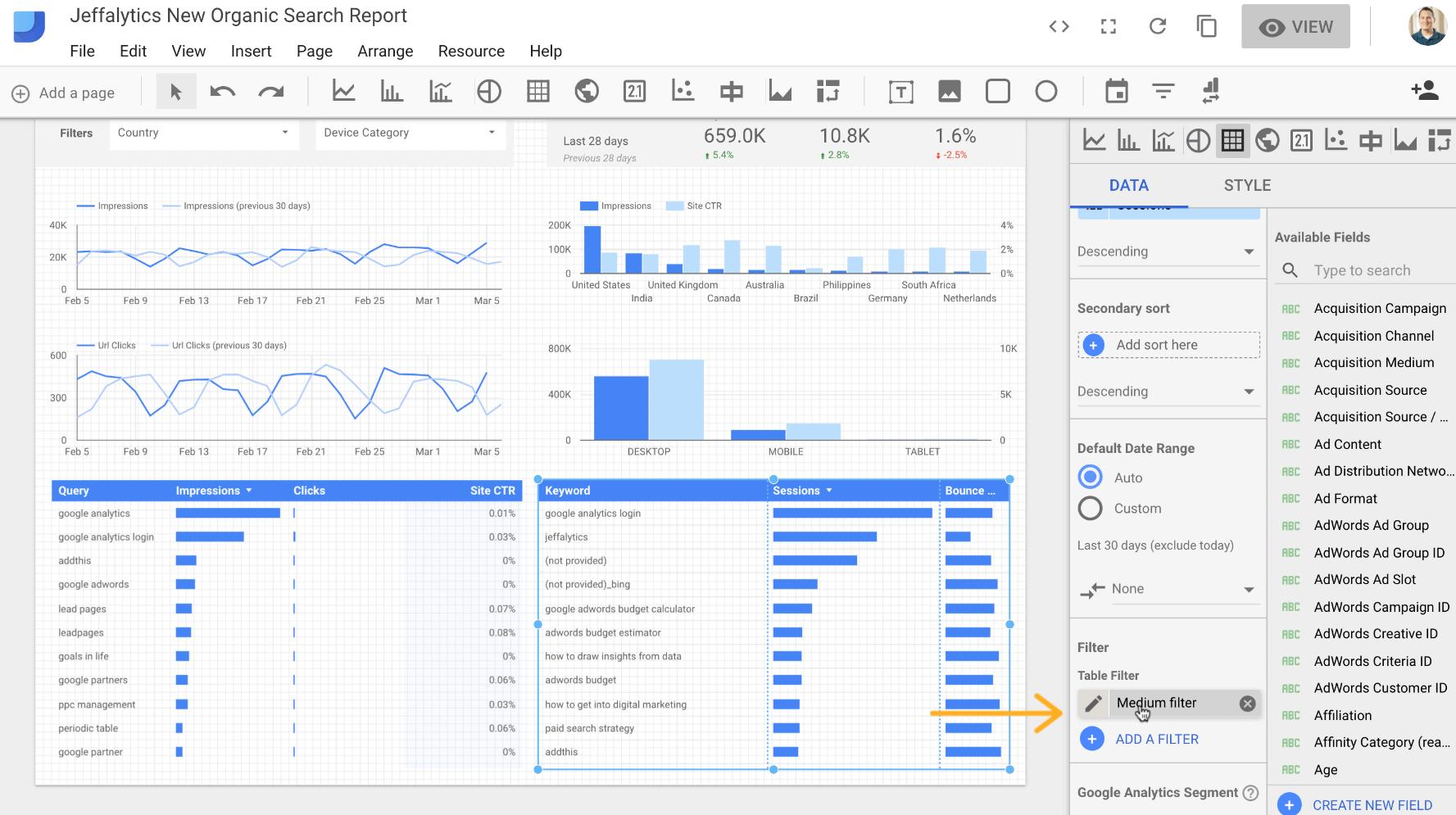 Filters in Google Data Studio