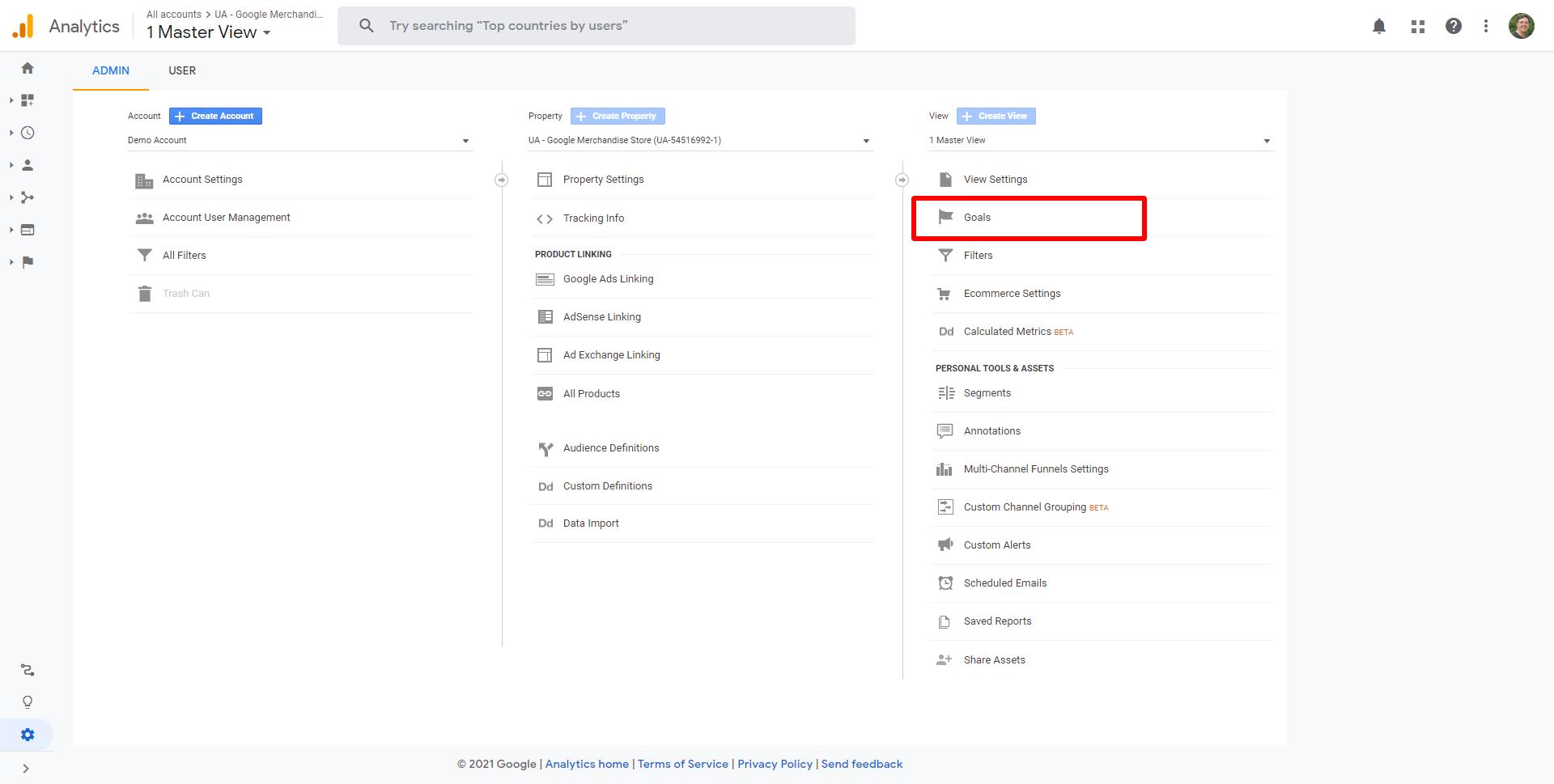 where to find goals in Google Analytics 4
