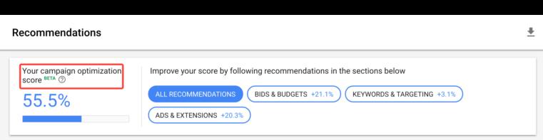 Campaign level optimization score